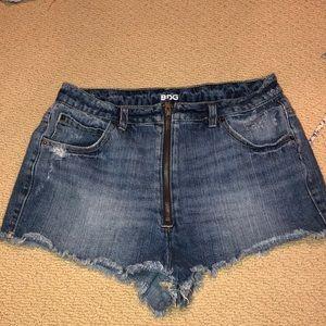 BDG double zipper jean shorts